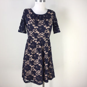 onna Morgan S 6 Nordstrom Navy Blue Lace dress